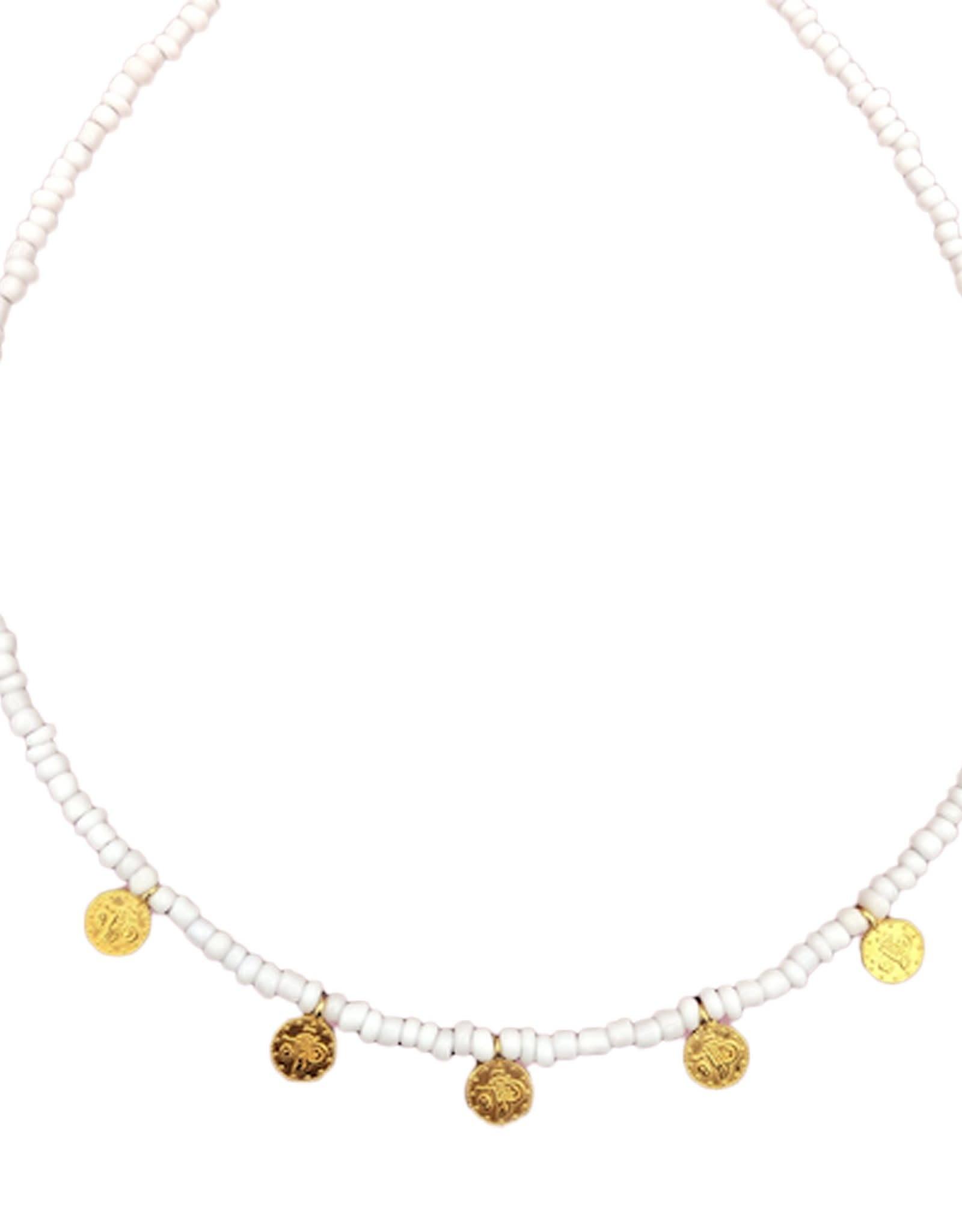 Boho-Beach 5 gold coins necklace white