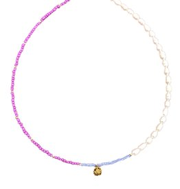 The Golden House Half pearls necklace coin