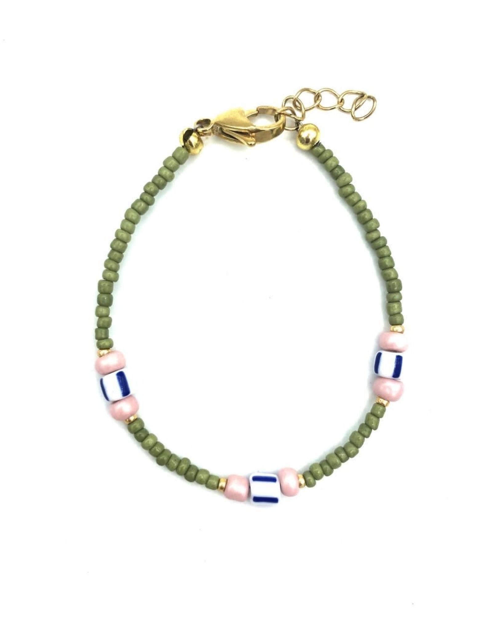 The Golden House Green pink bracelet