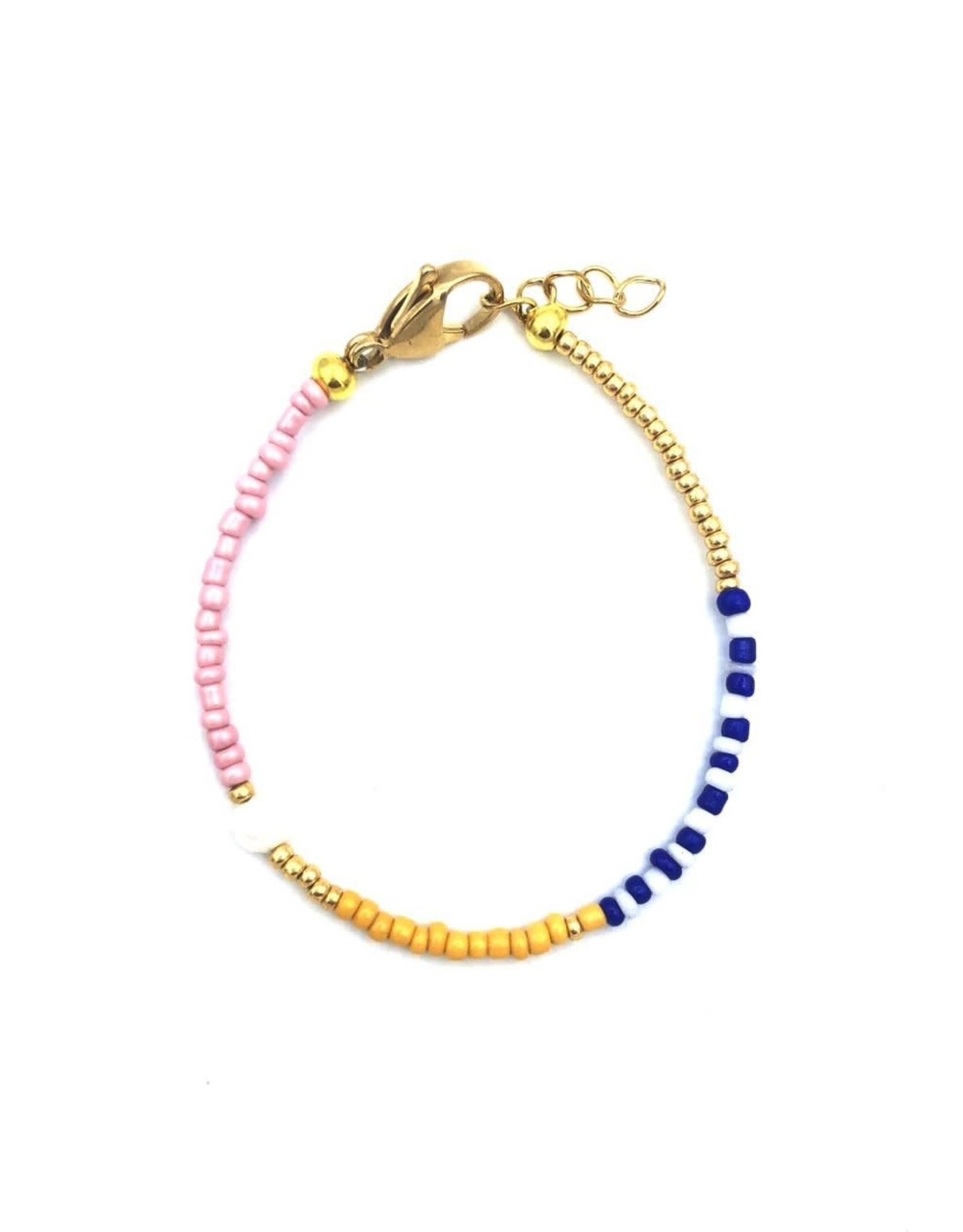 Boho-Beach Yellow blue bracelet pearl