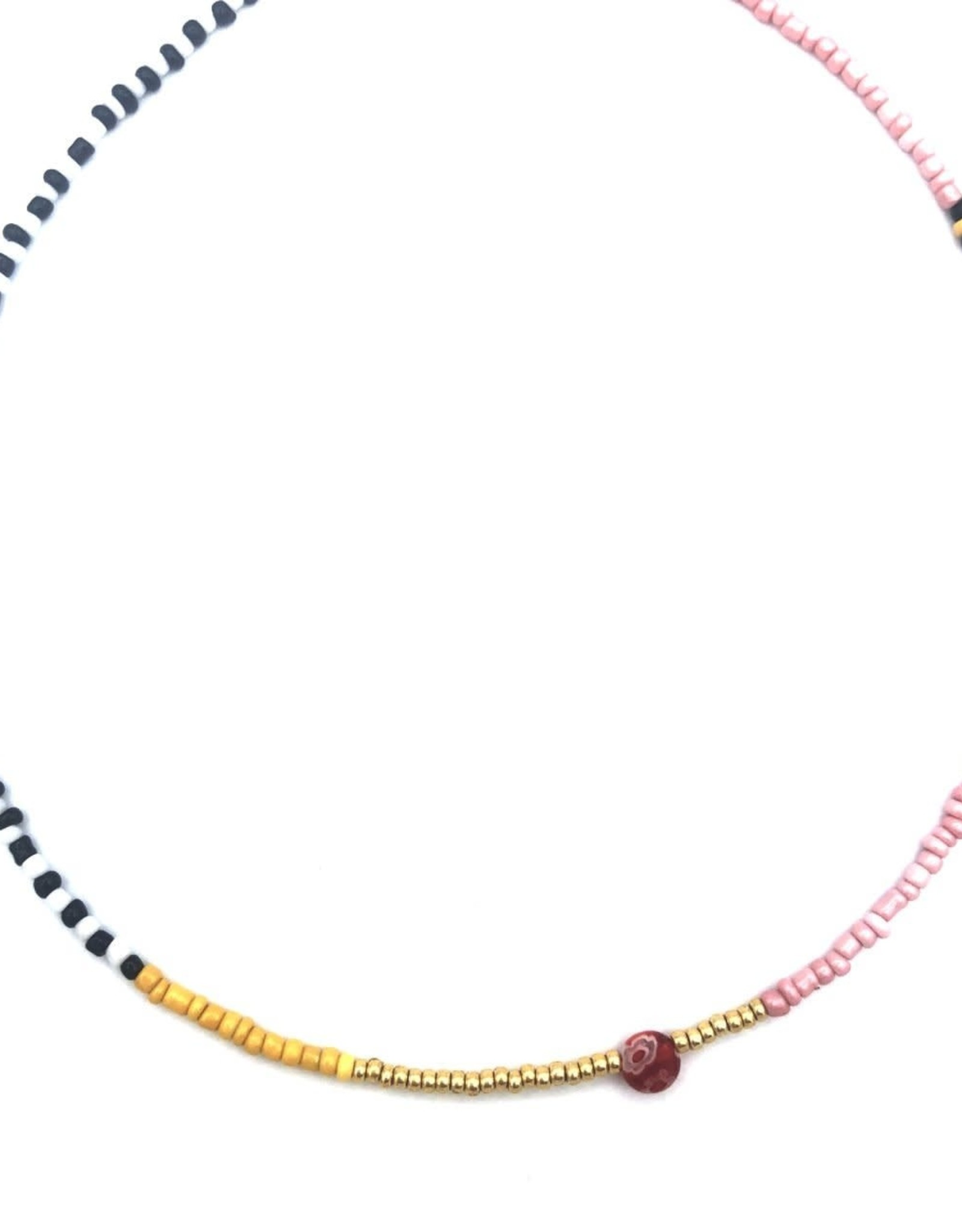 The Golden House Multi beads choker pink