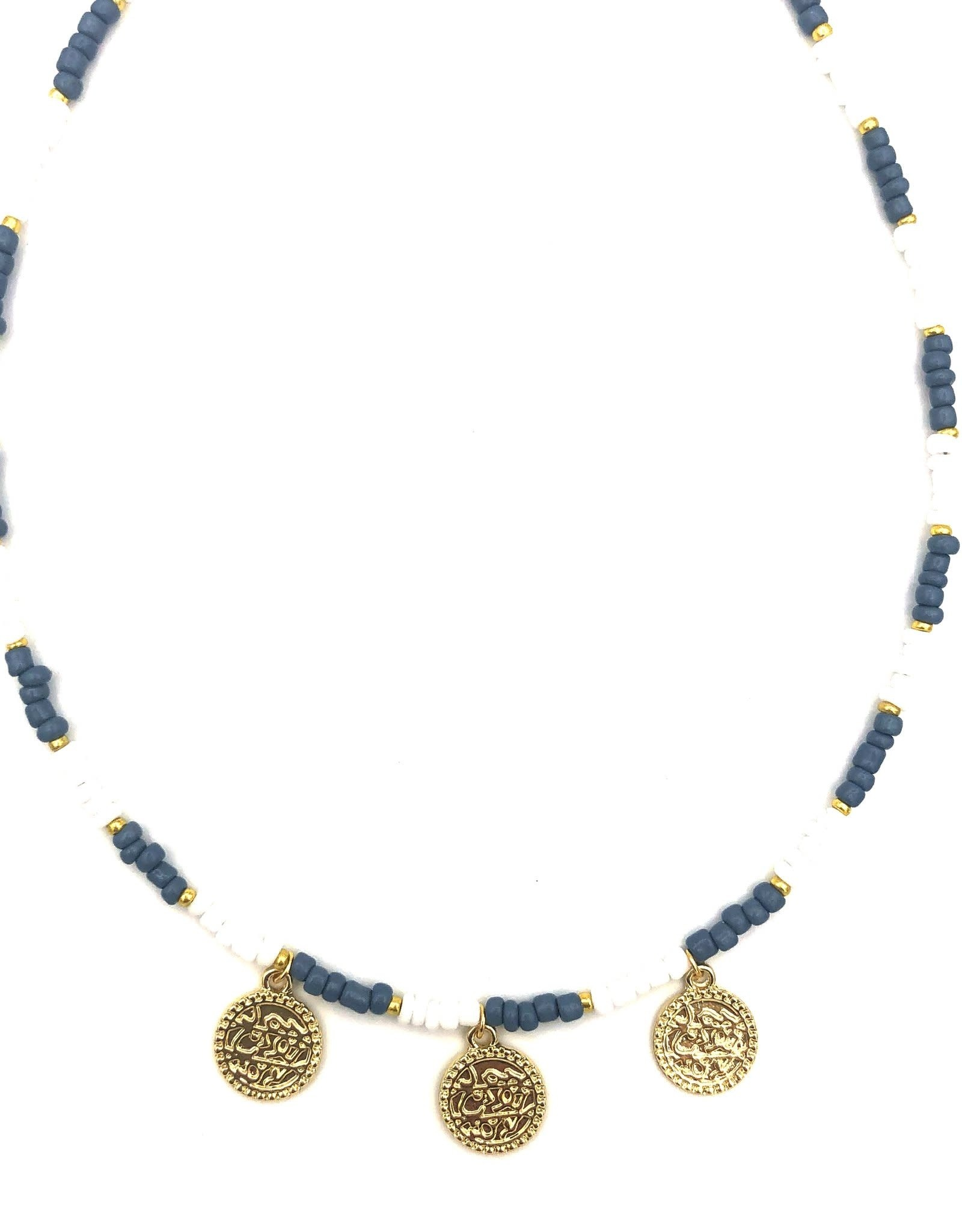 The Golden House Blue white necklace coins