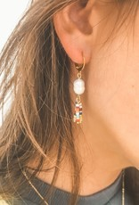 The Golden House 15 mm hoops pearls colourful gold