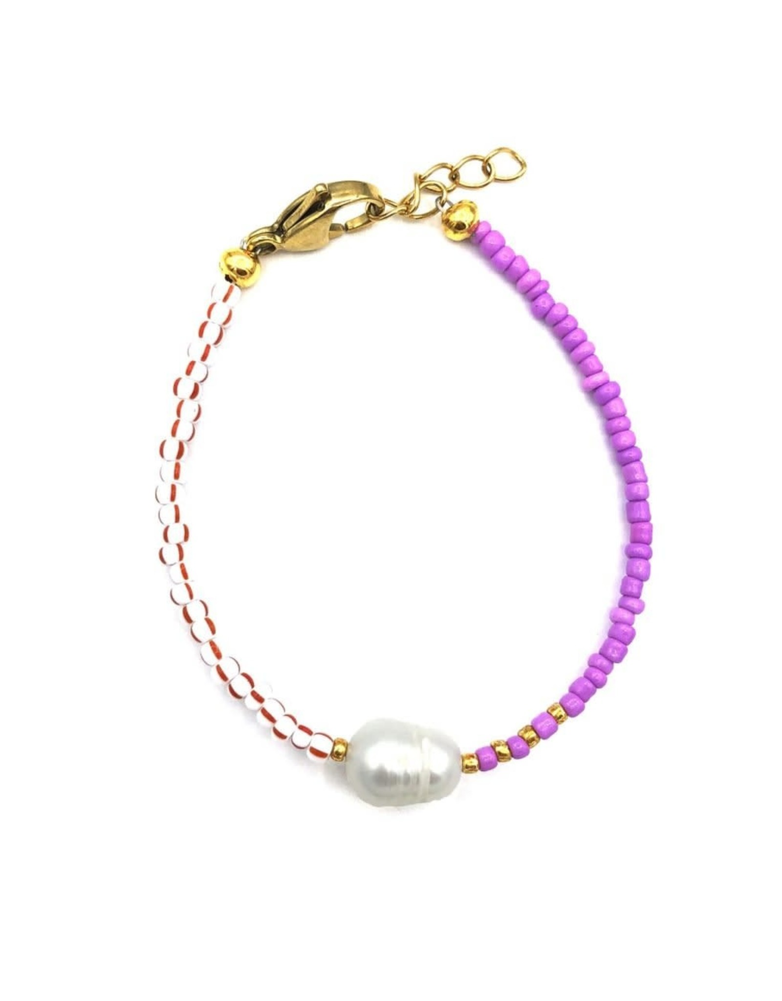 The Golden House Red/white purple pearl bracelet