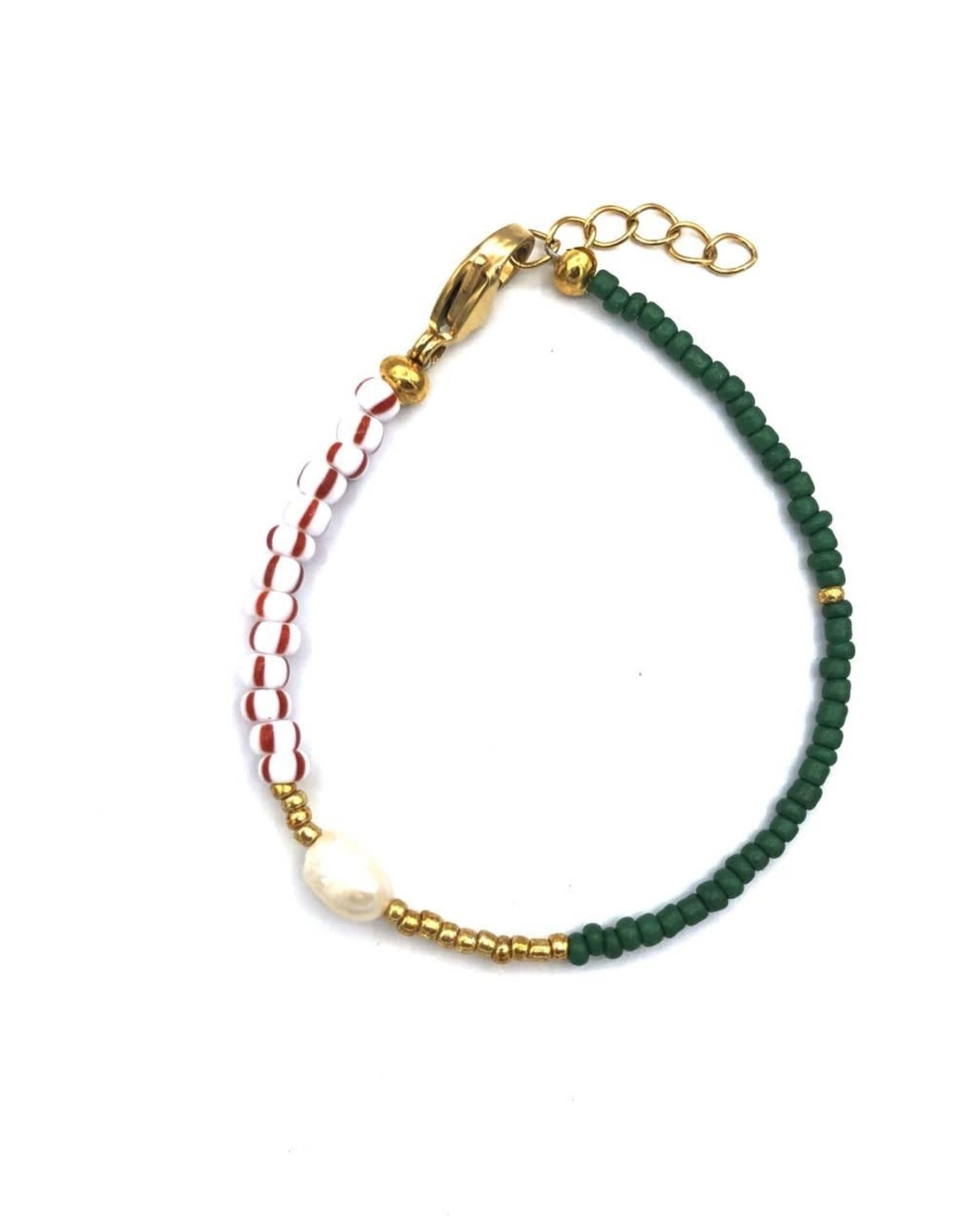 The Golden House Green striped red bracelet