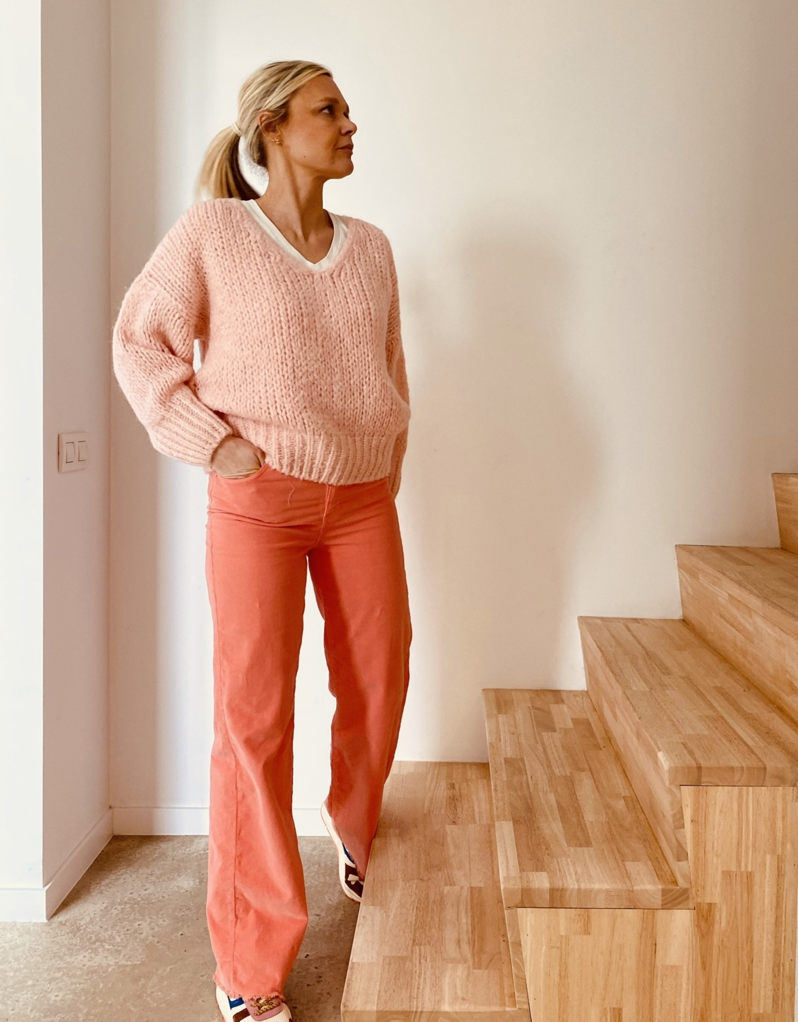 The Golden House Broek fijne ribfluweel 'Celeste' - Salmon