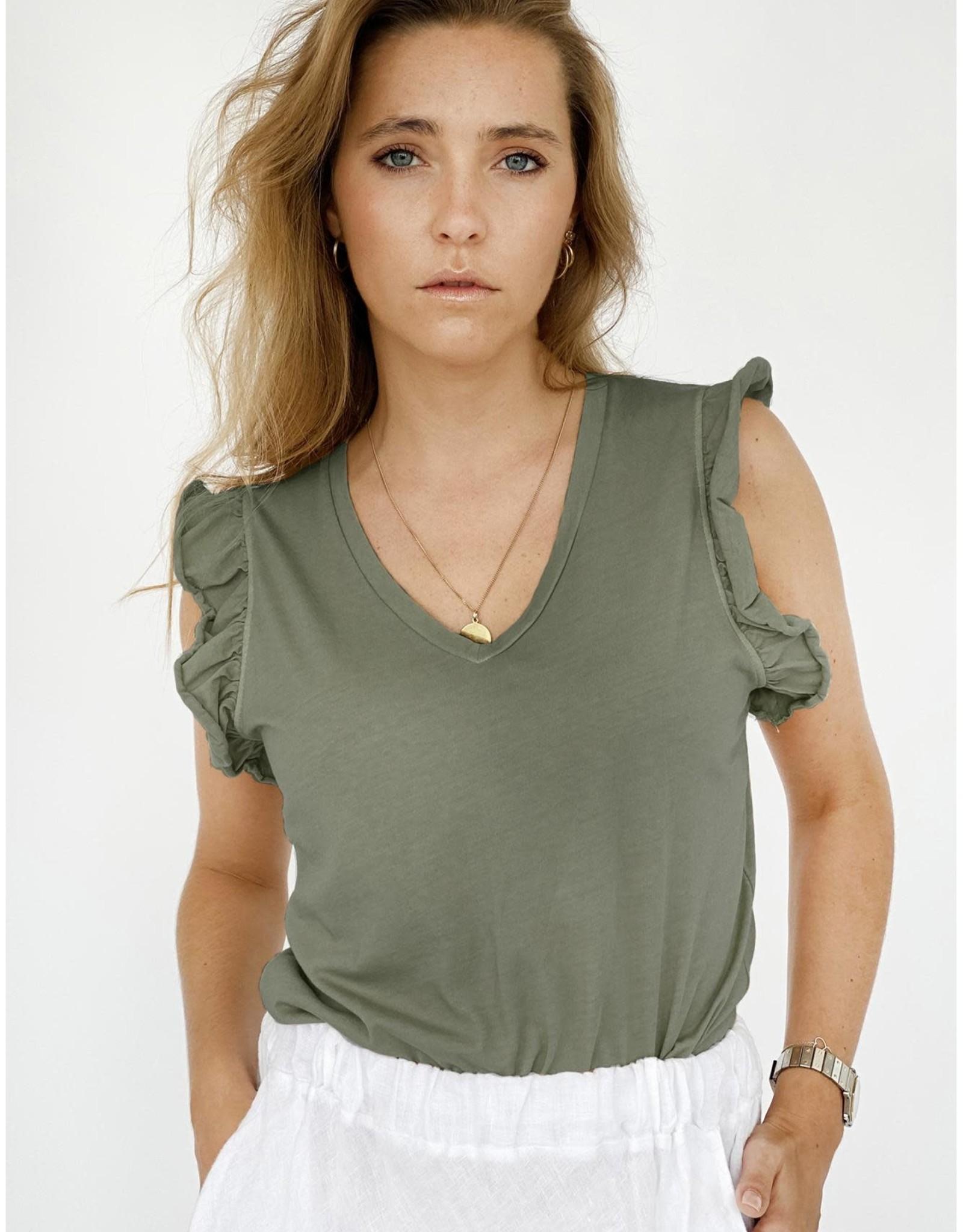 Love@me T-shirt 'Kim' - Kaki