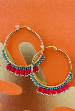 The Golden House Creoles - Rood/Turquoise