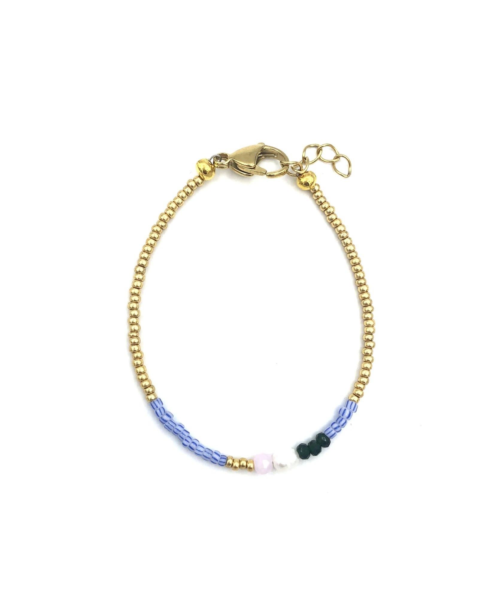 The Golden House Blue striped beads bracelet gold