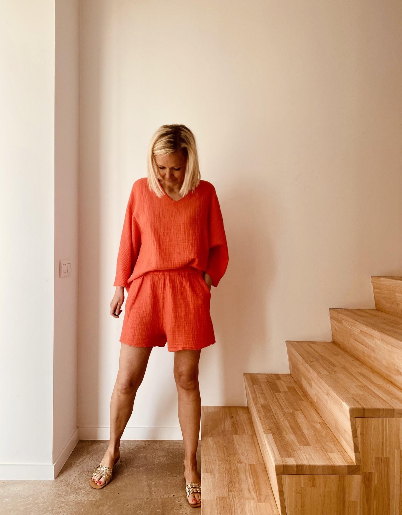 The Golden House Set Top & Short 'Elena' - Coral - Taille Unique