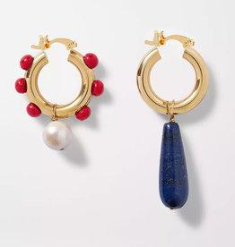 Feliz Oorringen 'Hoops' donkerblauwe natuursteen en rood - Feliz