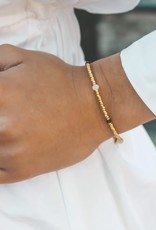 Boho-Beach Golden bracelet facet stones