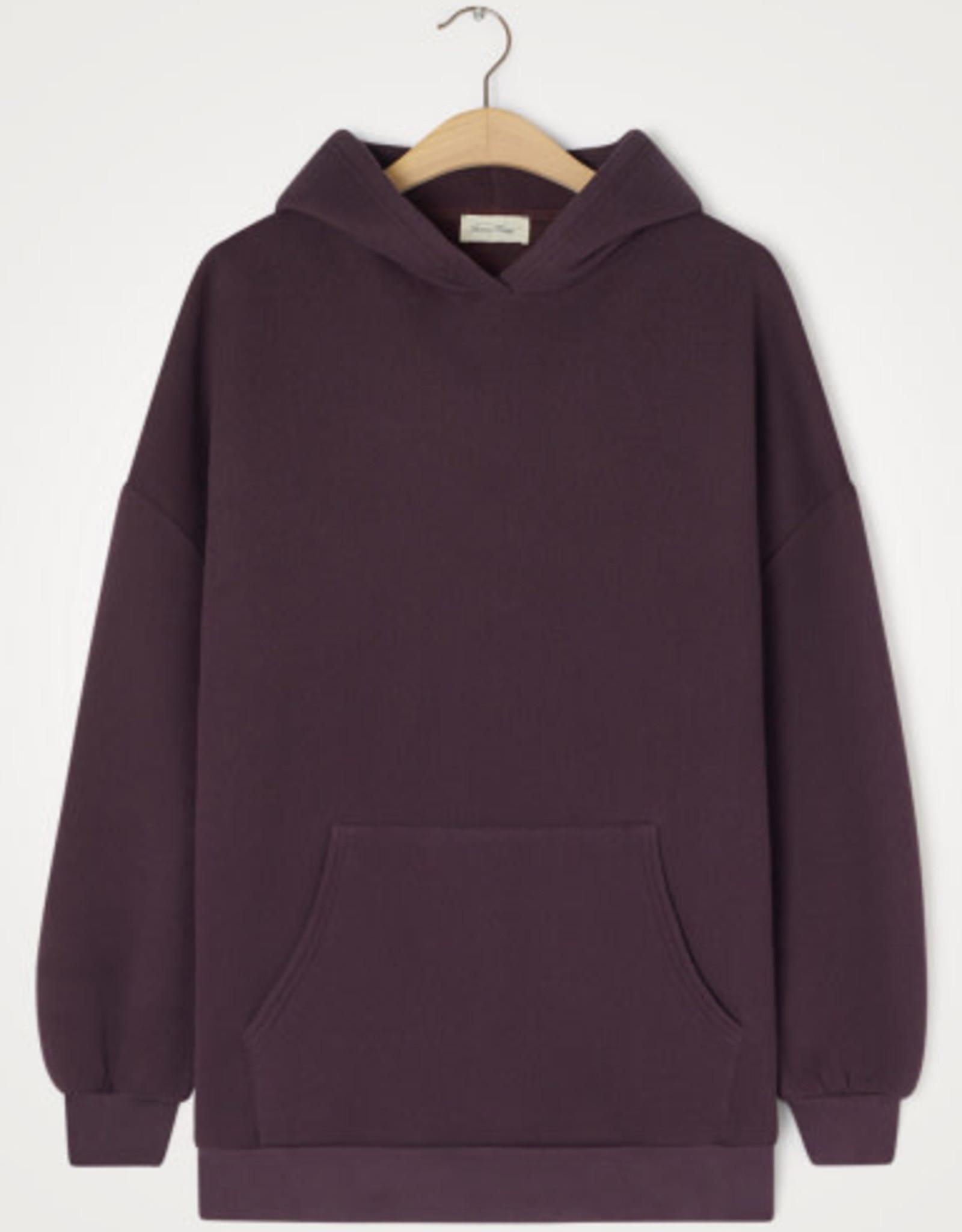 American Vintage Damessweater 'Ikatown' met kap - Aubergine - American Vintage