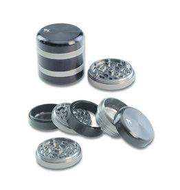 Black Leaf 'BL' Aluminium Grinder Silver/Black (5 parts)