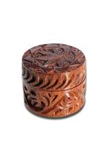 Black Leaf Rosewood Grinder 'Leaf' 2-part carved