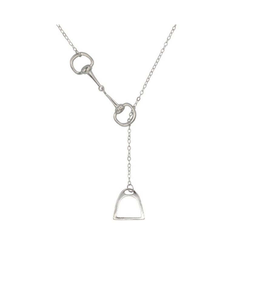 NECKLACE WITH SNAFFLE BIT & STIRRUP SILVER