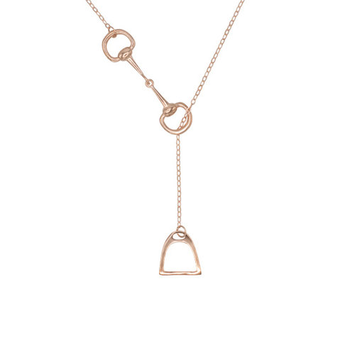 NECKLACE WITH SNAFFLE BIT & STIRRUP ROSE GOLD