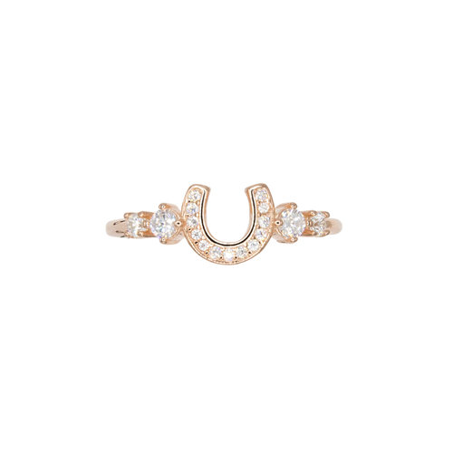 MULTISTONE HORSESHOE RING ROSE GOLD