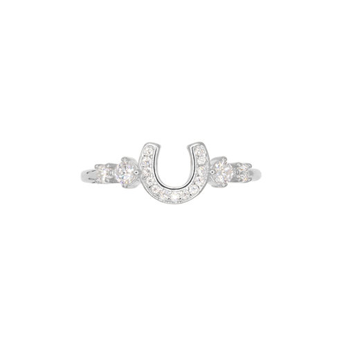 MULTISTONE HORSESHOE RING SILVER