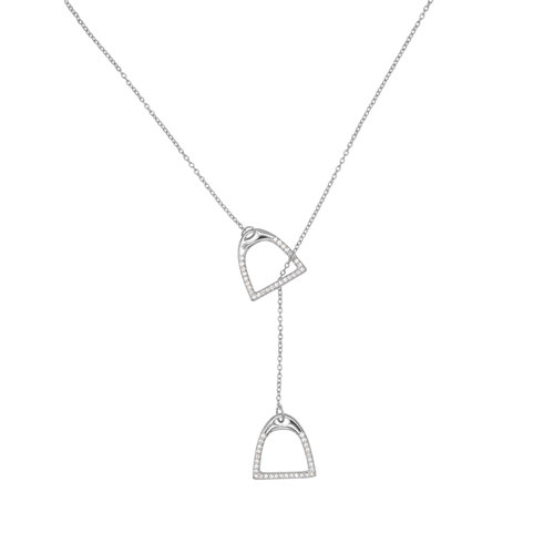 STIRRUP ZIRCONIA NECKLACE SILVER