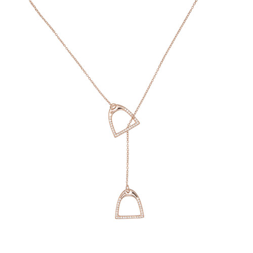 STIRRUP ZIRCONIA NECKLACE ROSE GOLD
