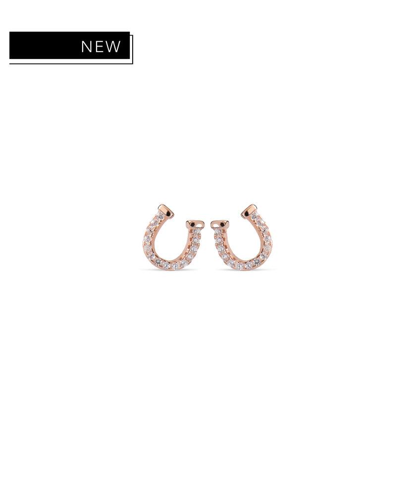 BRITNEY - ROSE GOLD HORSESHOE DIAMOND EARRINGS