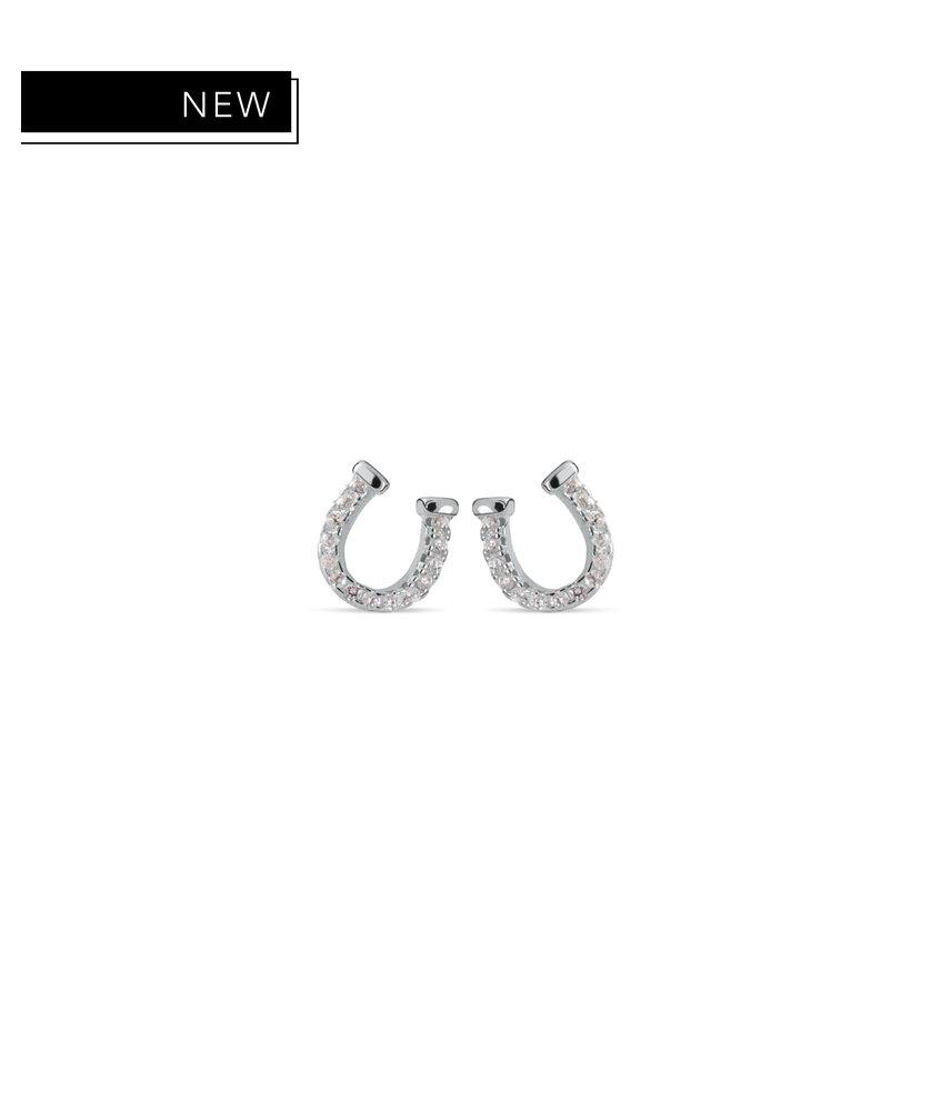 BRITNEY - SILVER HORSESHOE DIAMOND EARRINGS