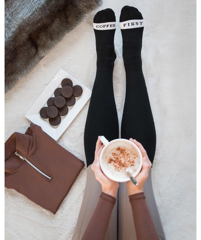 COFFEE FIRST - BLACK RIDING SOCKS