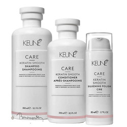 Keune Care Keratin Smooth shampoo, conditioner en Silkening Polish combi-pack