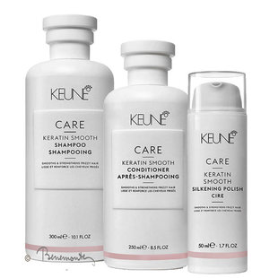 Keune Care Keratin Smooth shampoo, conditioner en Silkening Polish combi-pack