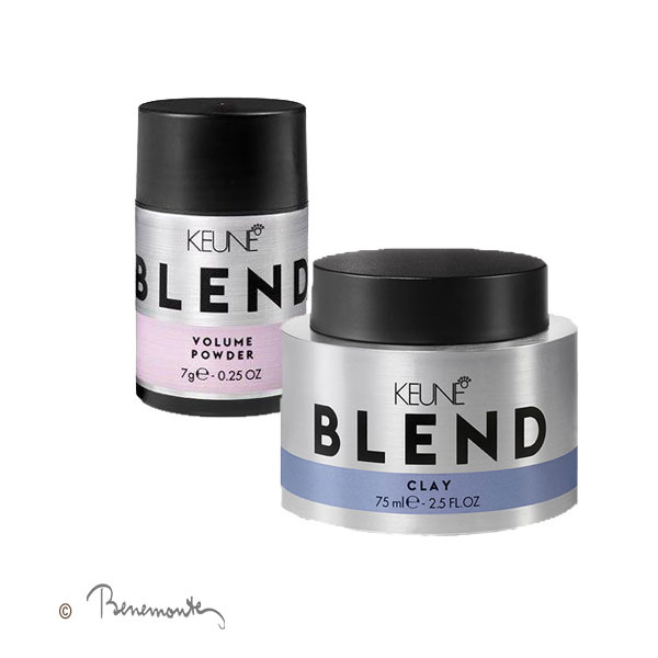 Keune Blend Clay en powder voor volume in kort dun en fijn haar