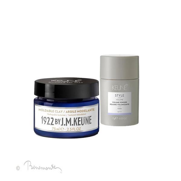 Keune Clay en powder voor volume in kort dun en fijn haar