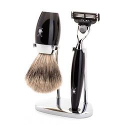 Muhle Kosmo Mach3 scheerset Silvertip Fibre® scheerkwast, zwart edelhars