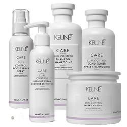 Keune Curl control shampoo, conditioner, mask, defining cream en boost spray.