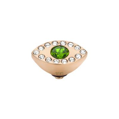 Melano Melano Twisted meddy Eye Rosé Gold Plated Emerald