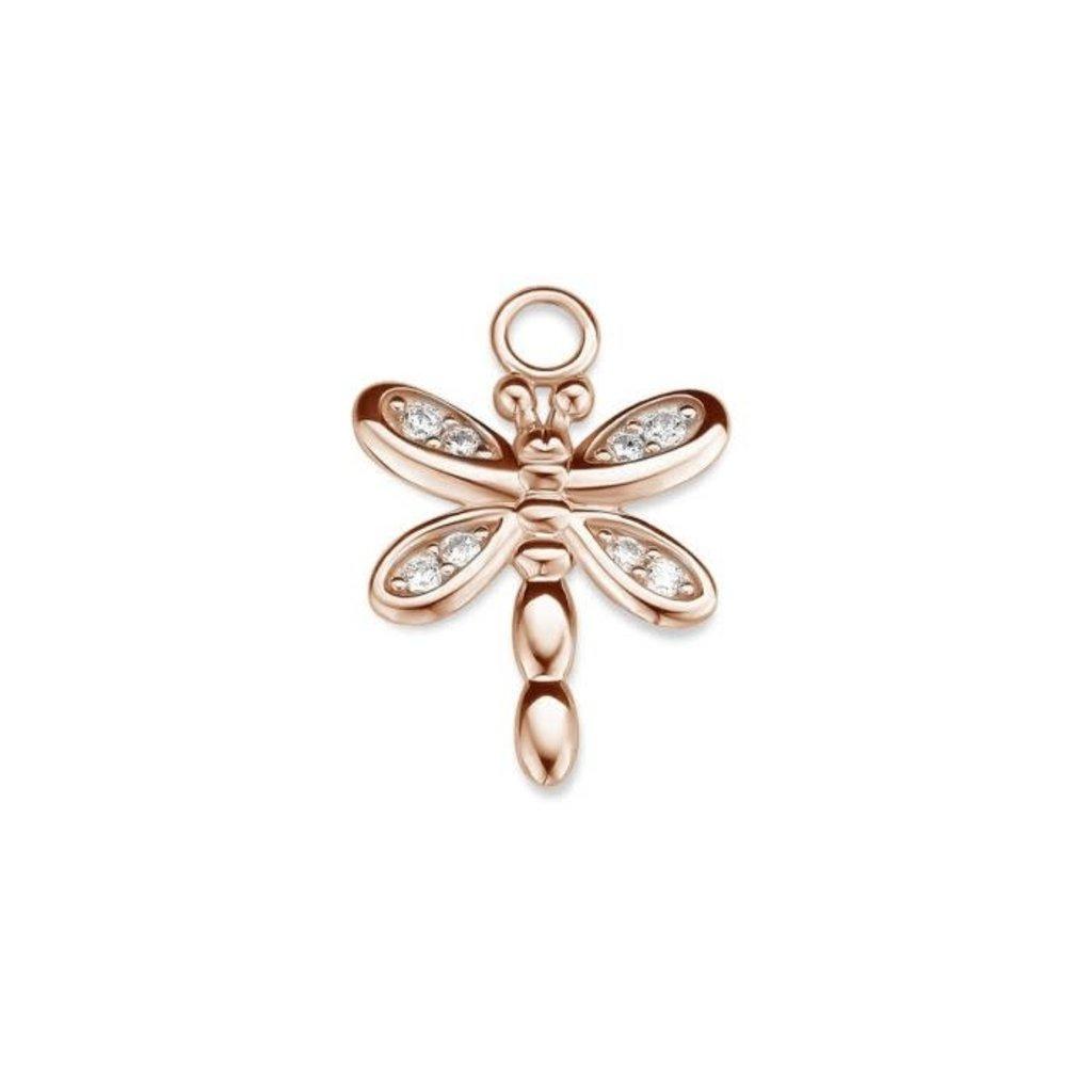 Mi Moneda Mi Moneda Monogram charm Dragonfly Rosé Gold Plated