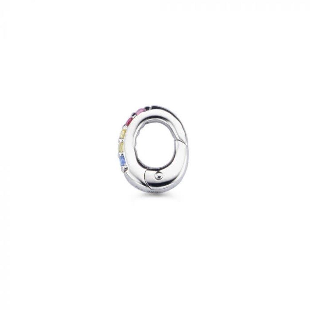 Mi Moneda Mi Moneda Monogram clip Oval Rainbow Silver