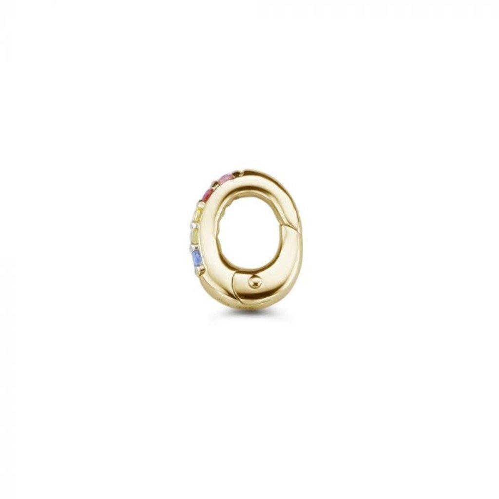 Mi Moneda Mi Moneda Monogram clip Oval Rainbow Gold Plated