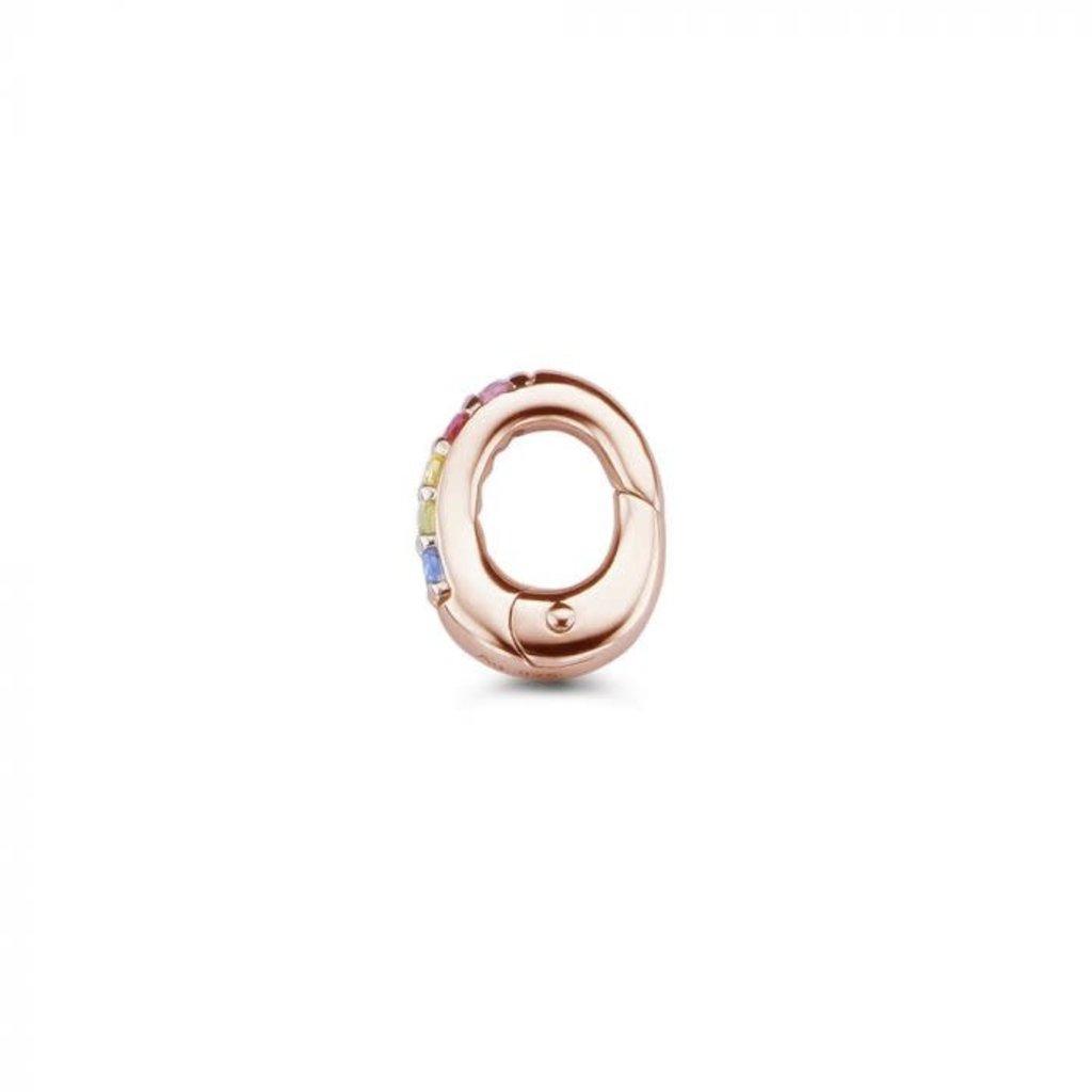 Mi Moneda Mi Moneda Monogram clip Oval Rainbow Rosé Gold Plated