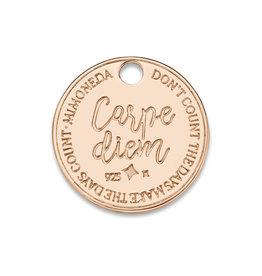 Mi Moneda Mi Moneda Monogram tag Carpe Diem Deluxe Round 15 mm Rosé Gold Plated