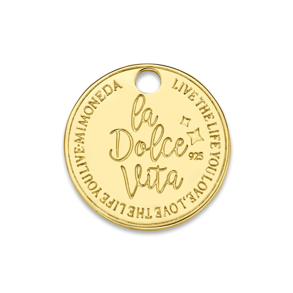 Mi Moneda Mi Moneda Monogram tag Dolce Vita Deluxe Round 15 mm Gold Plated