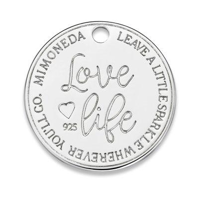 Mi Moneda Mi Moneda Monogram tag Love Life Deluxe Round 20 mm Silver