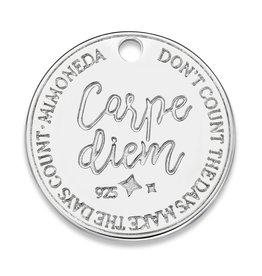 Mi Moneda Mi Moneda Monogram tag Carpe Diem Deluxe Round 20 mm Silver