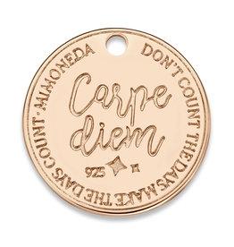 Mi Moneda Mi Moneda Monogram tag Carpe Diem Deluxe Round 20 mm Rosé Gold Plated