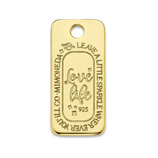 Mi Moneda Mi Moneda Monogram tag Love Life Square 20 mm Gold Plated
