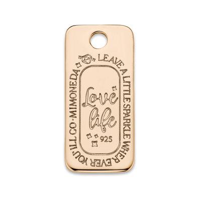 Mi Moneda Mi Moneda Monogram tag Love Life Square 20 mm Rosé Gold Plated