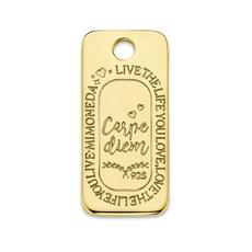 Mi Moneda Mi Moneda Monogram tag Carpe Diem Square 20 mm Gold Plated