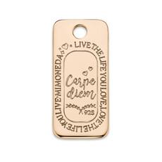 Mi Moneda Mi Moneda Monogram tag Carpe Diem Square 20 mm Rosé Gold Plated