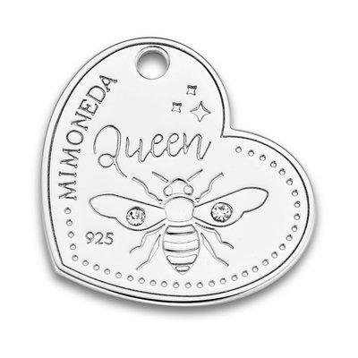 Mi Moneda Mi Moneda Monogram tag Queen Bee Heart 20 mm Silver