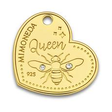 Mi Moneda Mi Moneda Monogram tag Queen Bee Heart 20 mm Gold Plated
